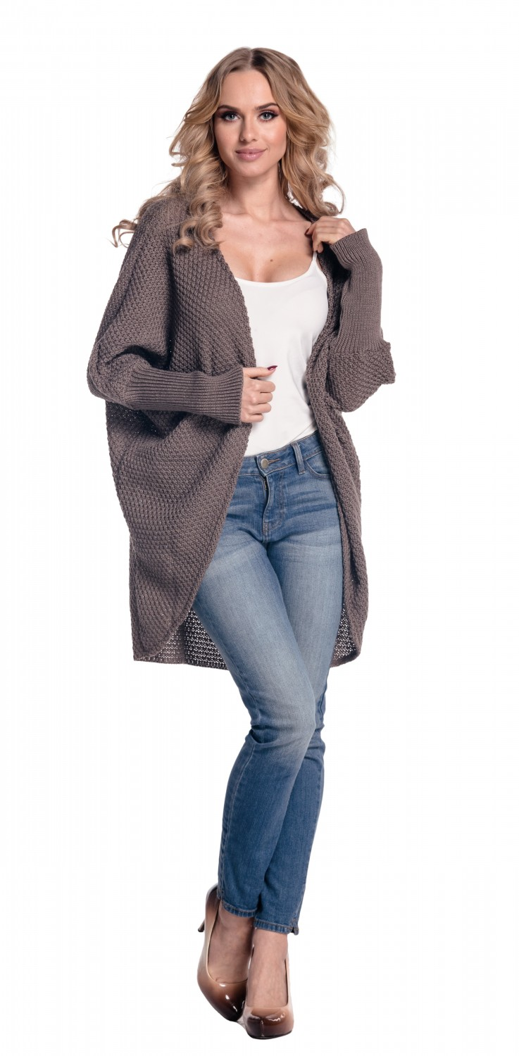 Loose Buttonless Pocketed Dark-grey Cardigan