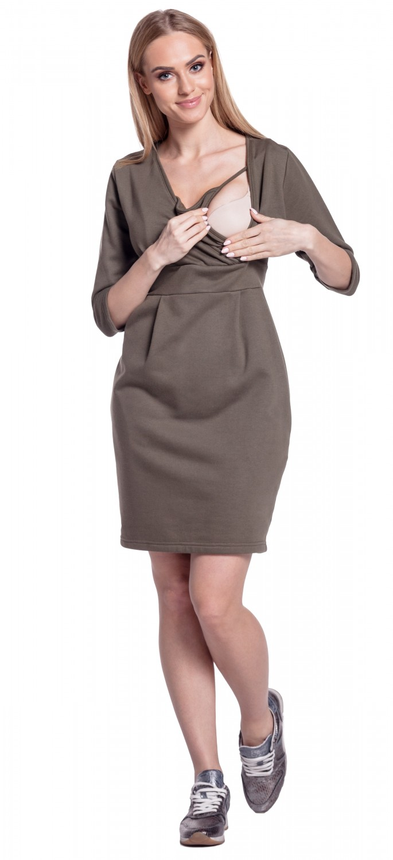 Happy Mama. Women's Maternity Nursing Sweatshirt Dress 3/4 ...