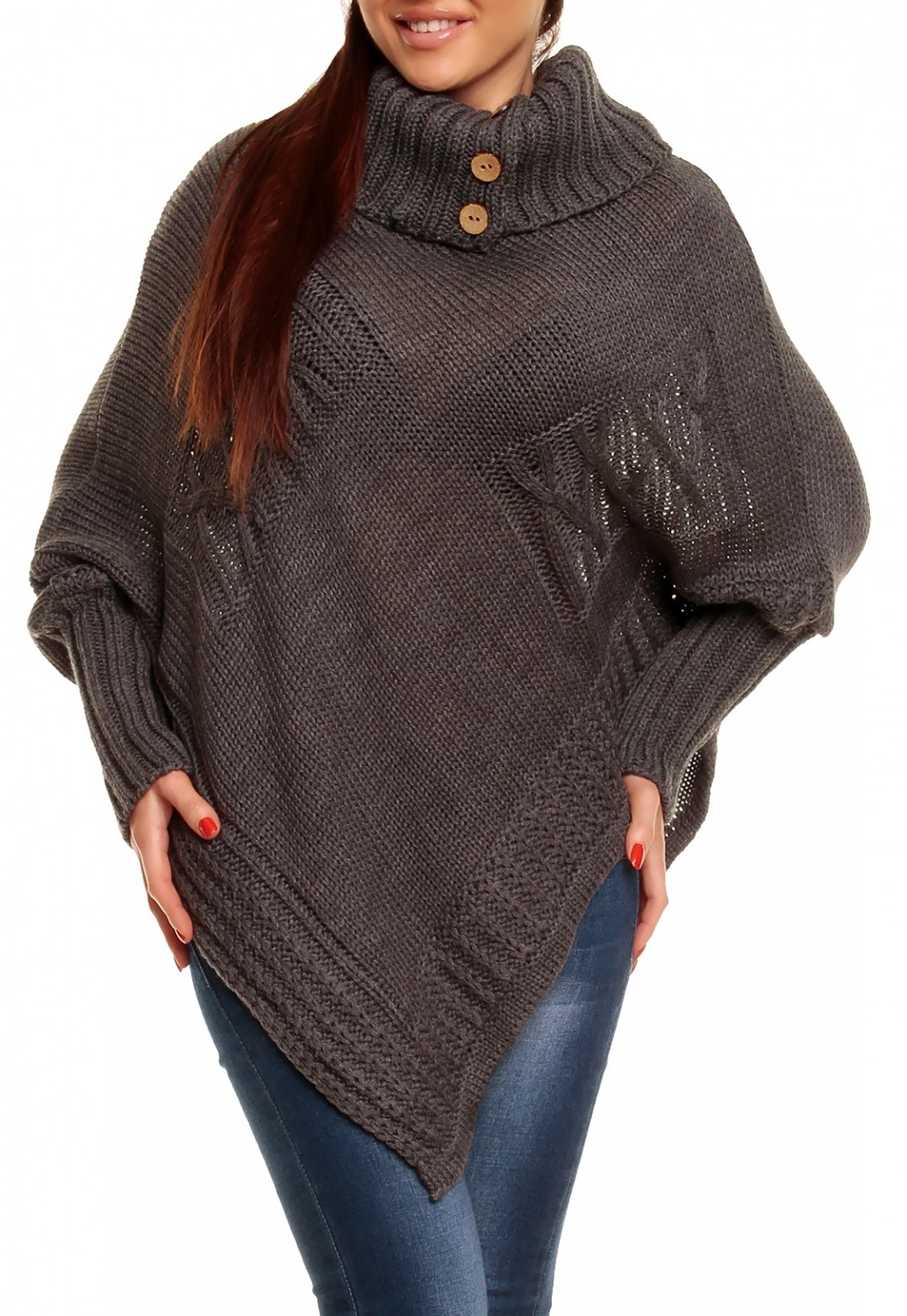 Glamour Empire Women's Warm Knit Poncho Sweater Batwing Cape Top ...