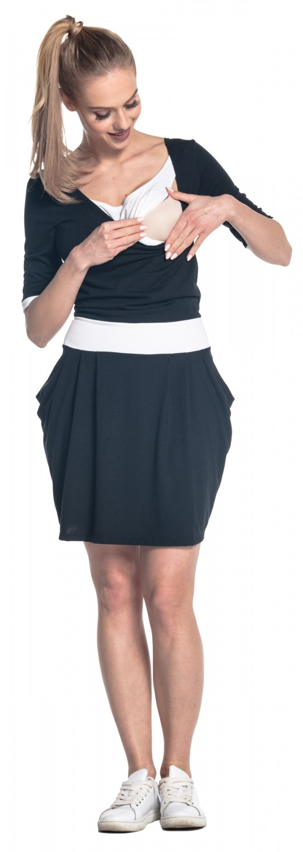 698p Women/'s Breastfeeding 2in1 Dress Nursing Half Sleeves Pockets Happy Mama