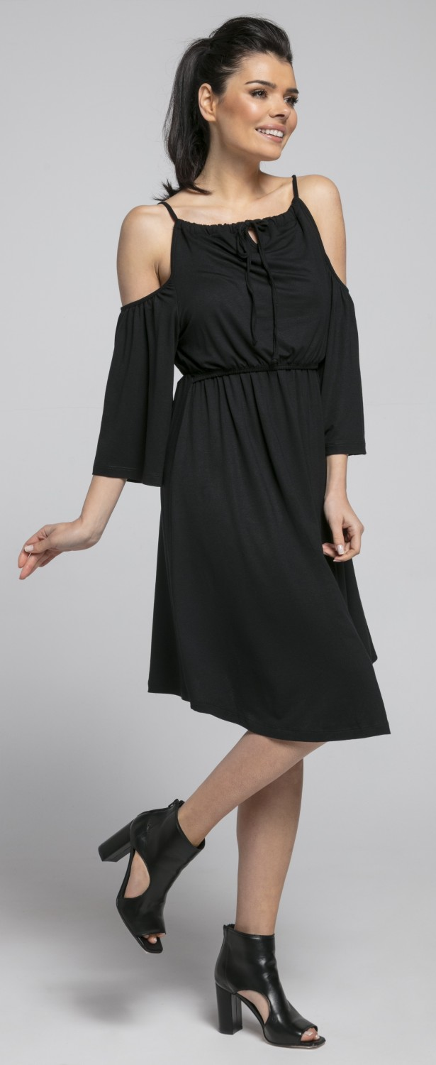 Women/'s Maternity Nursing Swing Dress Cold Shoulders 3//4 Sleeve.604p Happy Mama