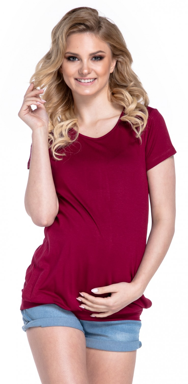 Women/'s Maternity T-shirt Nursing Layered Top Short Sleeves Happy Mama 436p
