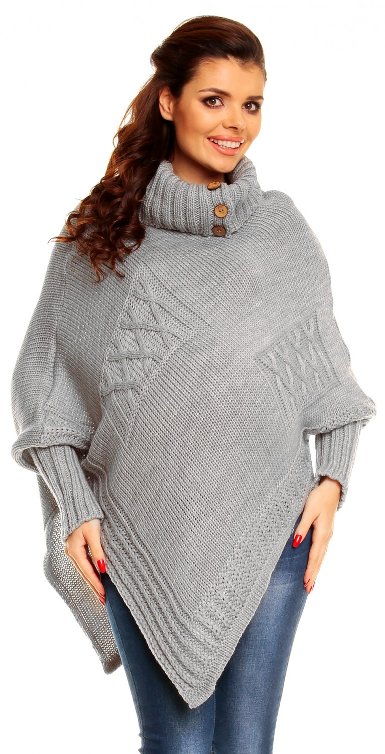 Zeta Ville Maternity Women's Chunky Cable Knit Sweater Poncho ...