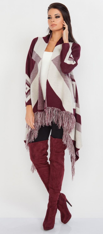 FOBYA - Women\'s Waterfall Cardigan Knit Geometric Pattern - Fringed ...
