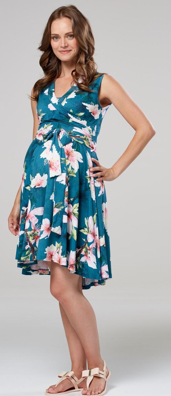 Women/'s Maternity Nursing Layered Tie Skater Dress Sleeveless  638p Happy Mama