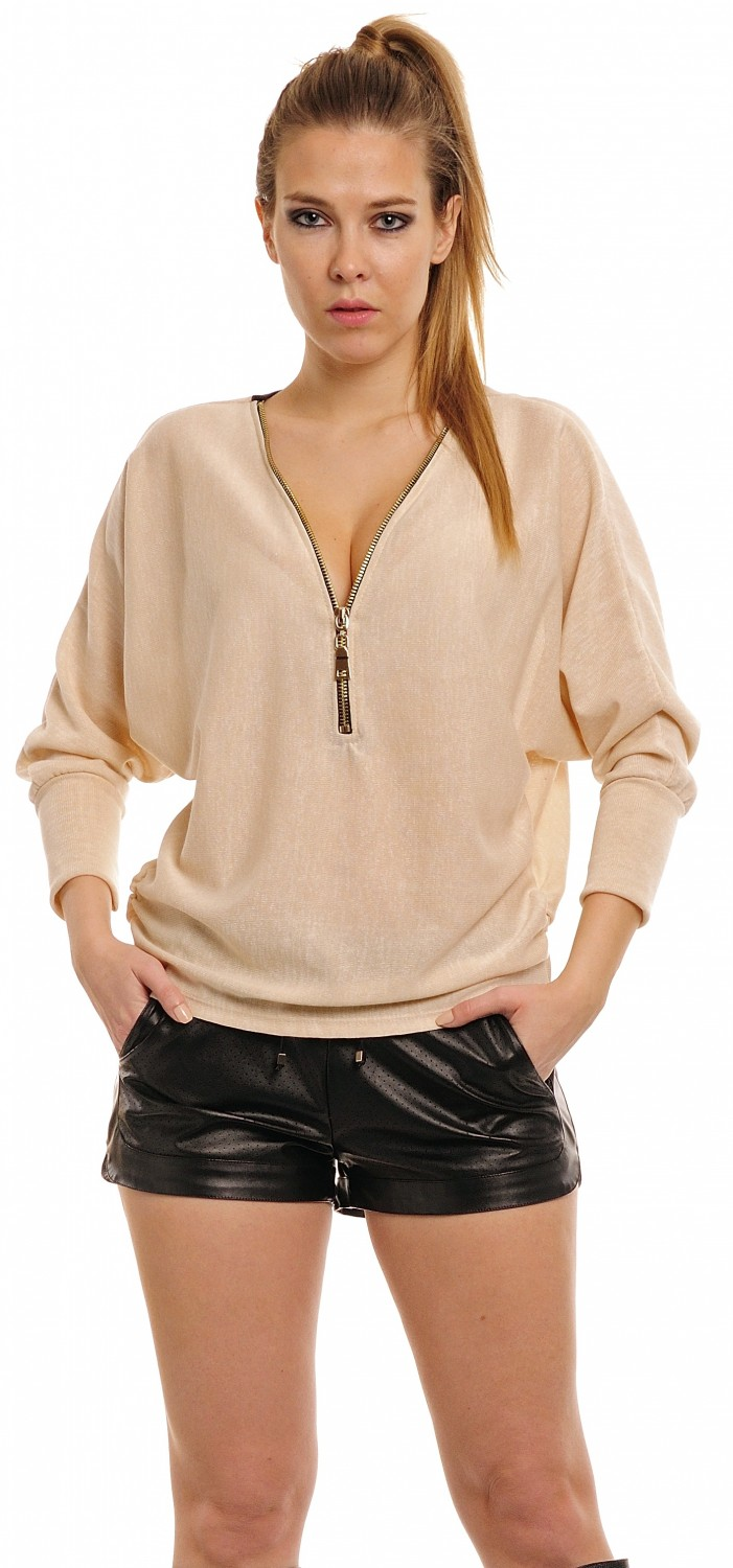Glamour Empire Women 39 S Zip Front Loose Fit Top Oversized