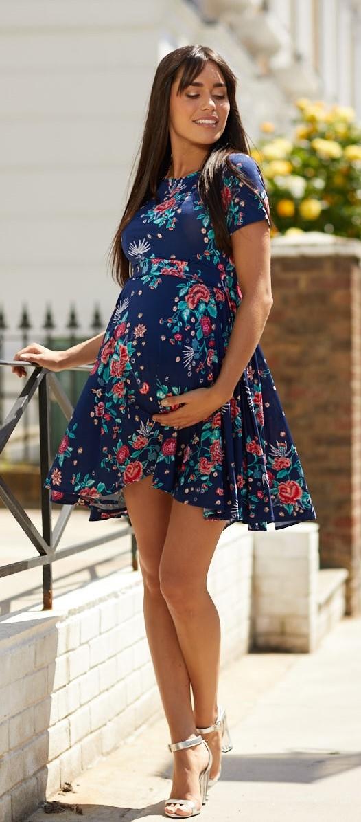 Happy Mama 084p Women/'s Maternity Breastfeeding Nursing Summer Swing Dress