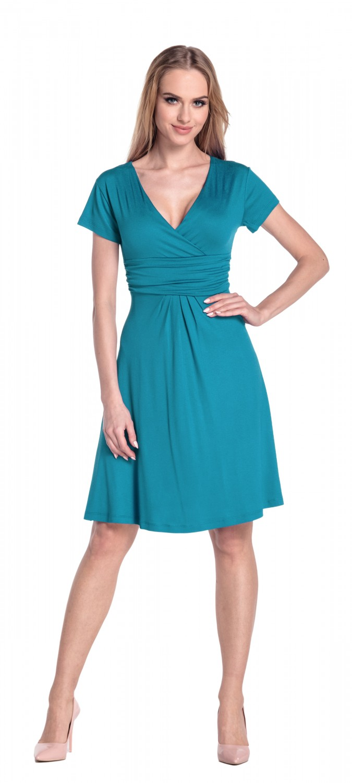thumbnail 101 - Glamour-Empire-Women-039-s-Knee-Length-Short-Sleeve-Jersey-Skater-Summer-Dress-108