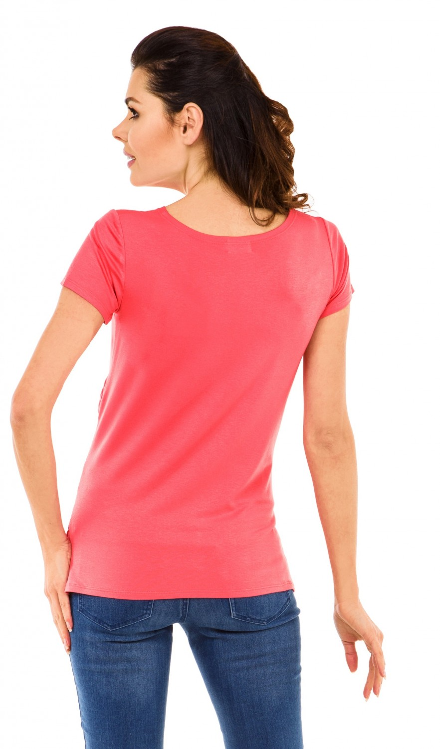 Some short-sleeve t-shirts have funny sayings that'll make you laugh. Pretty long-sleeve items give you a smart and polished look. Selections come in variety of fabrics, including cotton, polyester, spandex, rayon, and various combinations of these materials. Maternity t-shirts are available with three types of sleeves: short, three-quarter, and long.