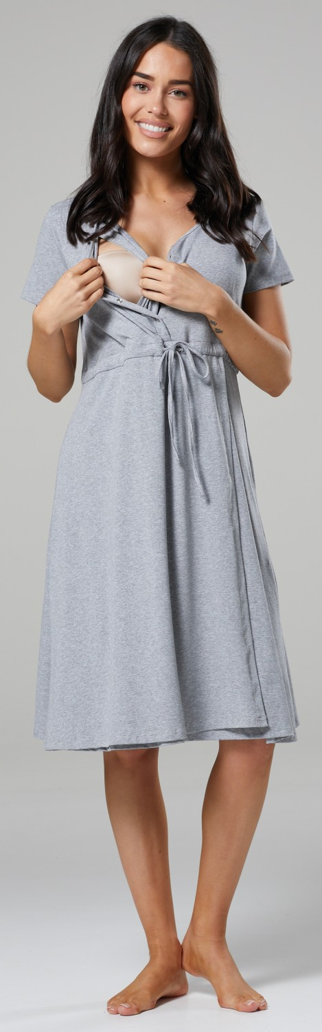 Women/'s Maternity Delivery Hospital Tied Waist Gown Nightshirt 001p Happy Mama