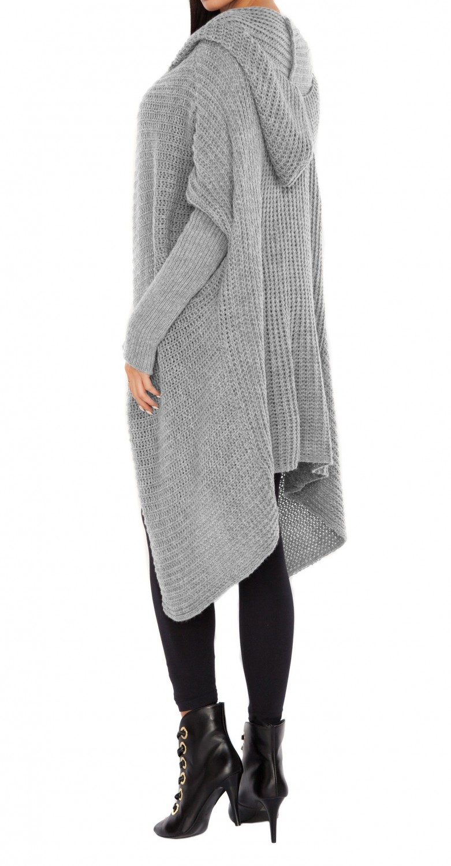 Glamour Empire. Women's Knitted Hooded Coat Waterfall Blazer Long ...