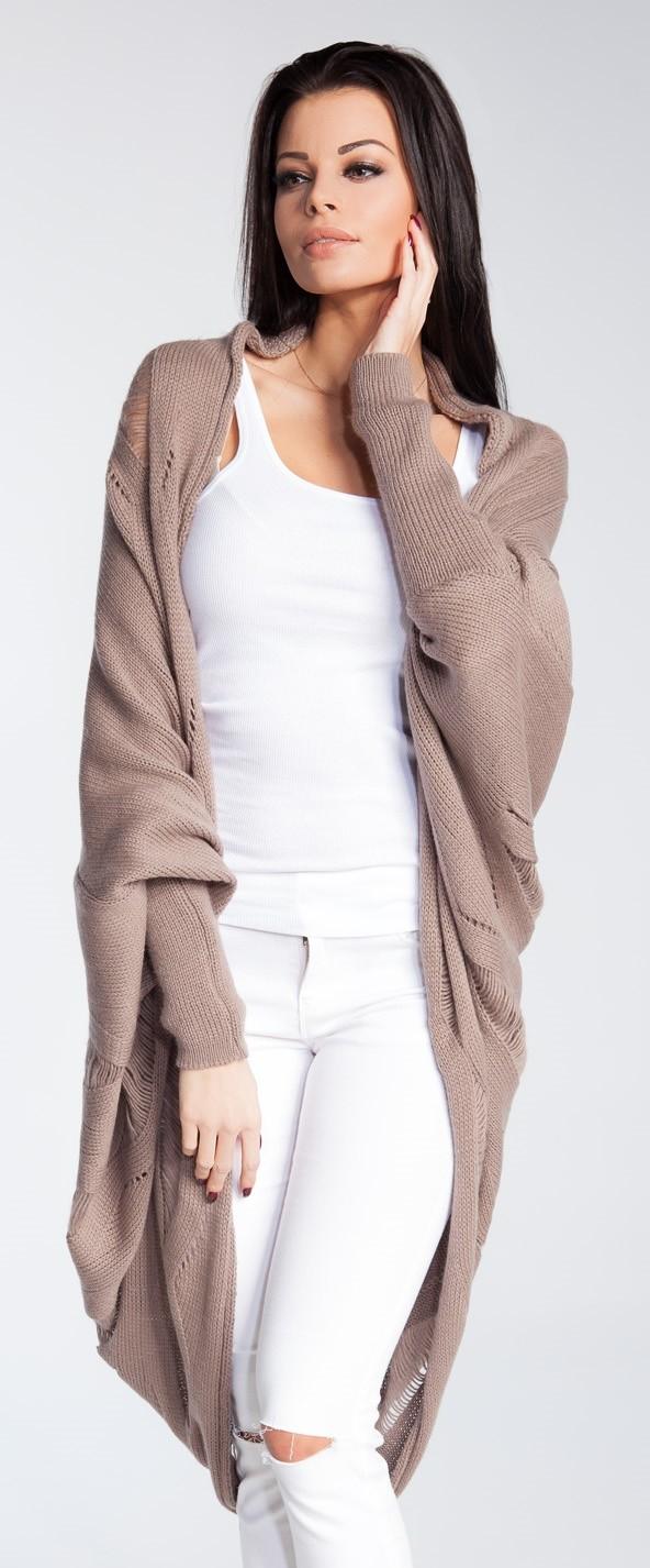 FOBYA - Womens Shawl Collar Knit Cocoon Dolman Cardigan Openwork Pattern...
