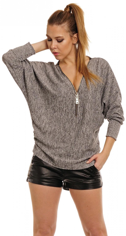 femmes zip front coupe ample top surdimensionne pull chemise 051
