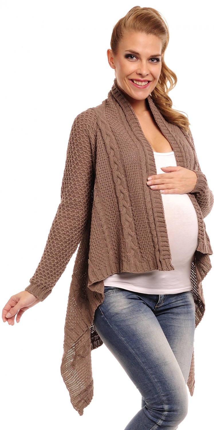 Happy Mama Women's Maternity Waterfall Cardigan Cable Knit Coat ...