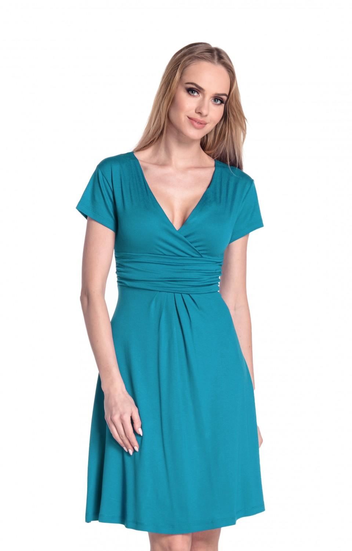 thumbnail 100 - Glamour-Empire-Women-039-s-Knee-Length-Short-Sleeve-Jersey-Skater-Summer-Dress-108