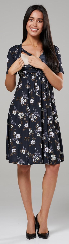 Happy Mama Women/'s Maternity Nursing A-Line Pattern Dress Crew Neck 563p