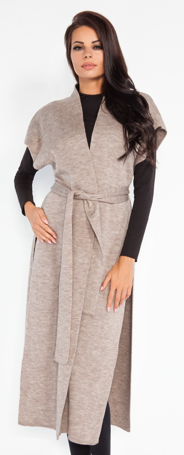 310f2b1b83 FOBYA - Women s longline belted cardigan coat sleeveless high side .