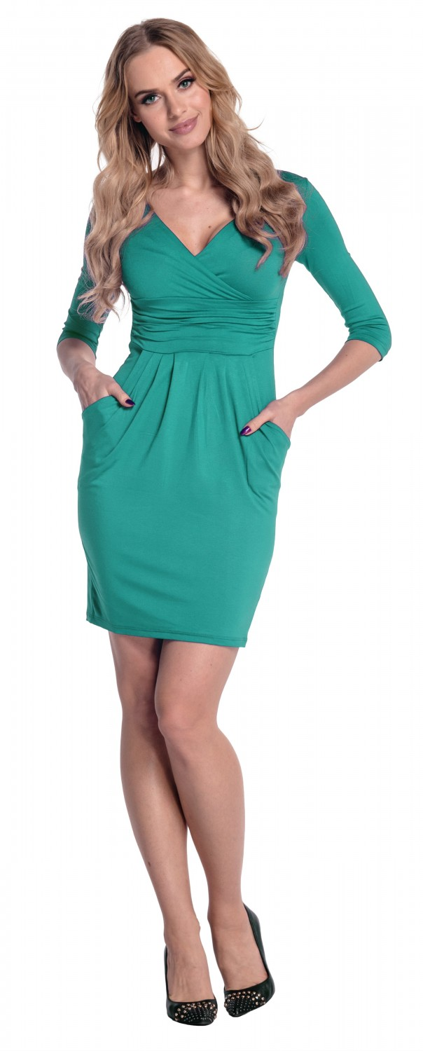 Glamour Empire. Women\'s Wrap V-Neck Jersey Pencil Dress with Pockets ...