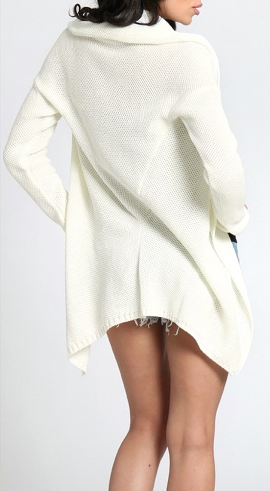 Zeta Ville 930z Women/'s Asymmetric Jacket Cardigan Shawl Draped Blazer Knit