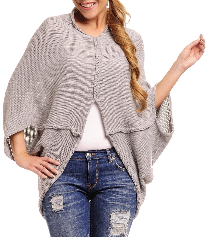 glamour empire femmes chaud tricot poncho cardigan chauve souris cape top pull 077 ebay. Black Bedroom Furniture Sets. Home Design Ideas