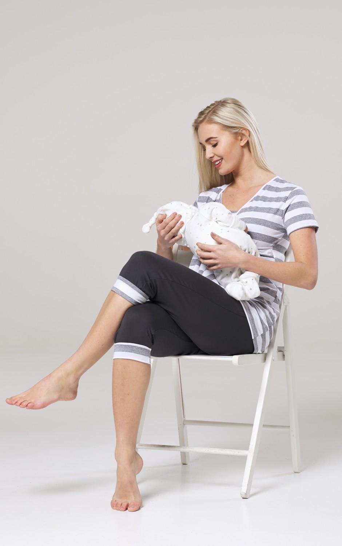 Happy Mama Women/'s Maternity Nursing Pajama Set Capri Pants Top Nightwear 088p