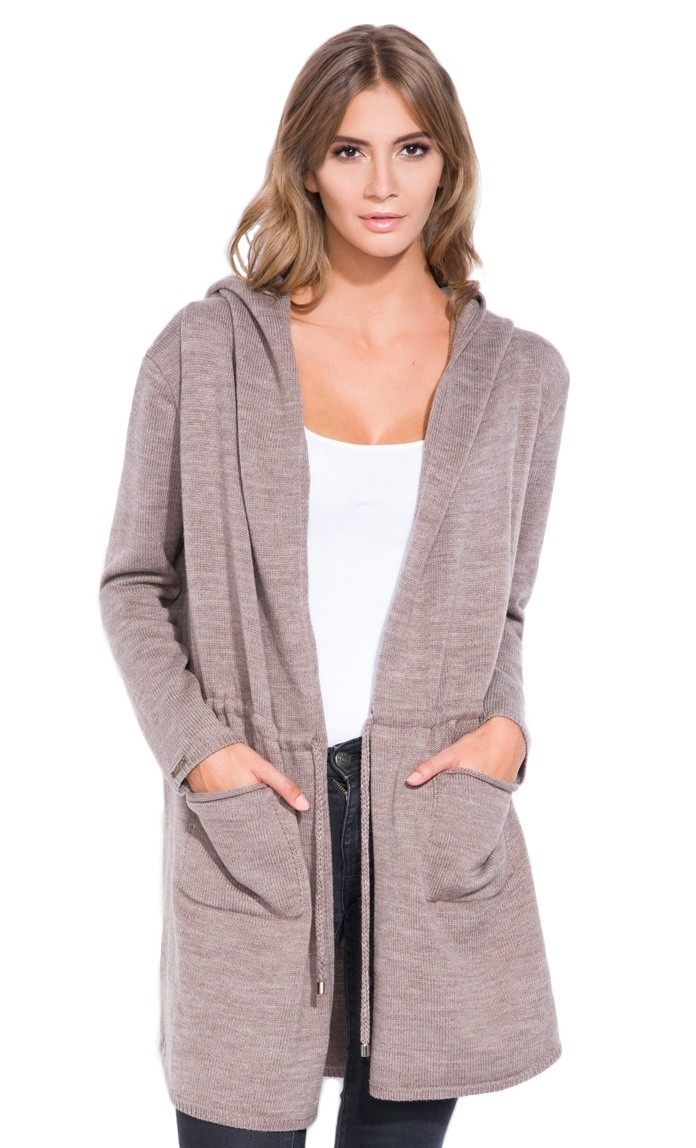 FOBYA - Women's coat hooded cardigan knit cardi pockets drawstring ...