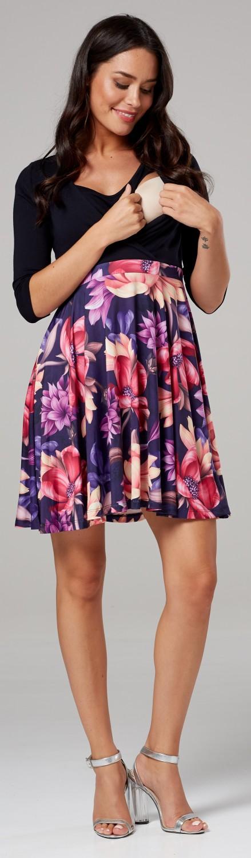 603p Zeta Ville Women/'s Maternity Nursing Skater Tunic Mini Dress 3//4 Sleeves