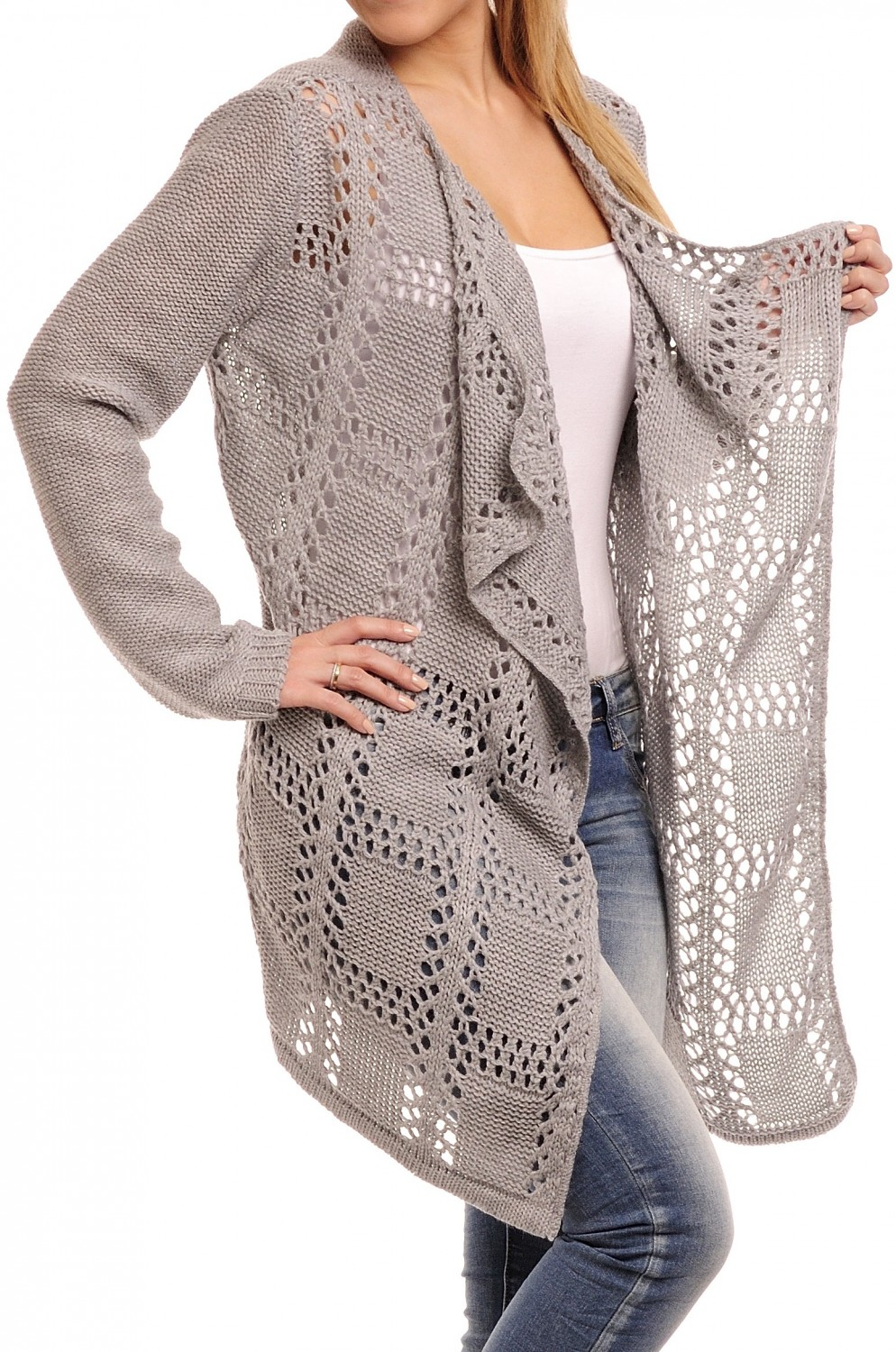 Knitting Pattern Waterfall Cardigan Free : Glamour Empire Womens Knitted Coat Waterfall Crochet Front Long Cardigan...