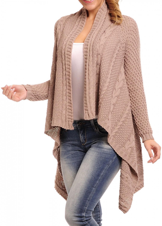 glamour empire femmes c ble tricot chaud manteau cascade long wrap cardigan 328 ebay. Black Bedroom Furniture Sets. Home Design Ideas