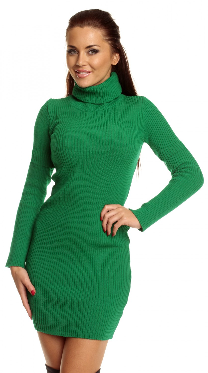 Women s stretch ribbed knit dress roll turtle neck long sleeve 417z