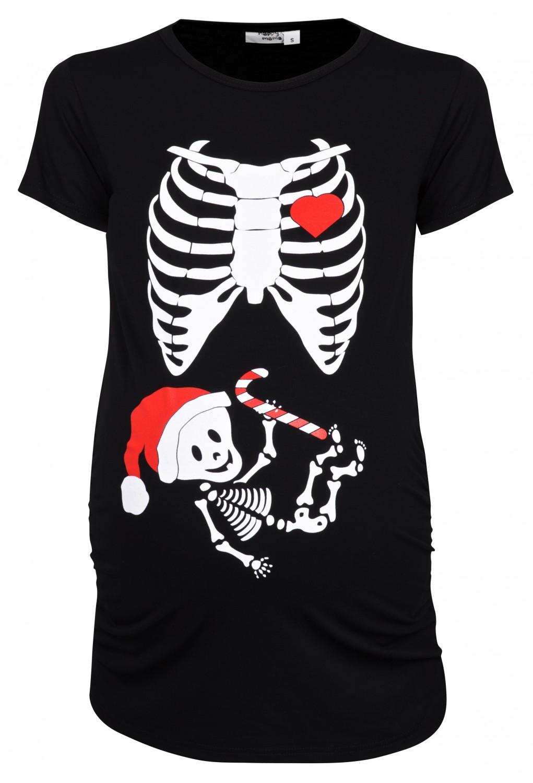 happy mama. woman's maternity xmas baby skeleton x-ray halloween t