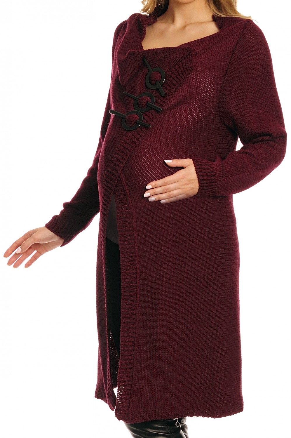 Zeta Ville Women's Maternity Knit Coat Cardigan Decorative Buttons - 106c