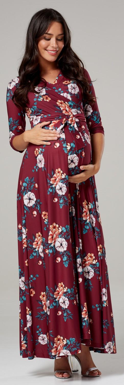 Women/'s Maternity Nursing Maxi Dress 3//4 Sleeves Double layered 608p Happy Mama