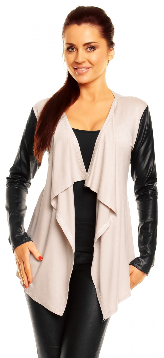 Zeta Ville Women's PU Leather Sleeve Waterfall Jacket Cardigan ...