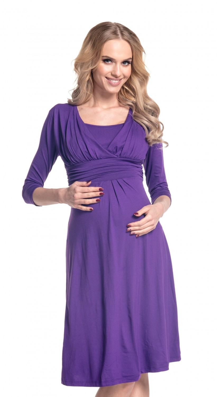 Happy Mama Women/'s Maternity Nursing 2in1 Skater Dress 3//4 Sleeves 526p