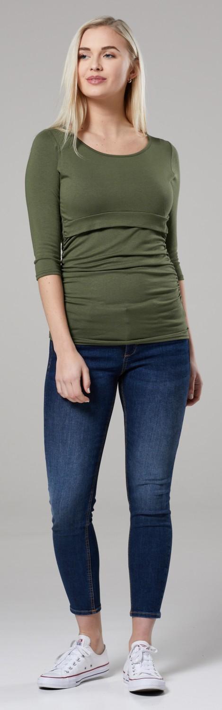 Happy Mama Women/'s Maternity Nursing Double Layer Top 058p Crew Neck Shirt