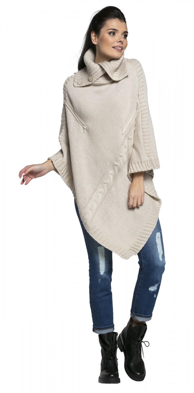 3a1f1f1ecb Happy Mama Women s Maternity Nursing Chunky Knit Poncho Sweater ...