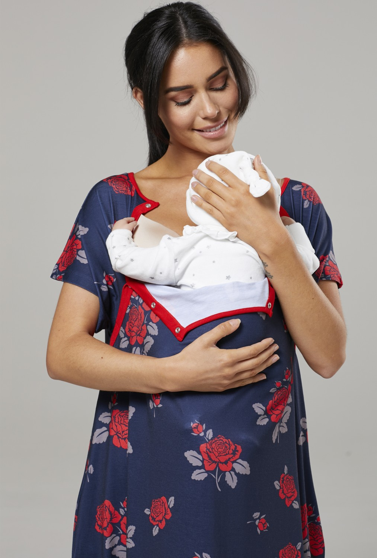 Zeta-Ville-Women-039-s-Maternity-Nursing-Delivery-Hospital-Gown-Nightshirt-536p thumbnail 47