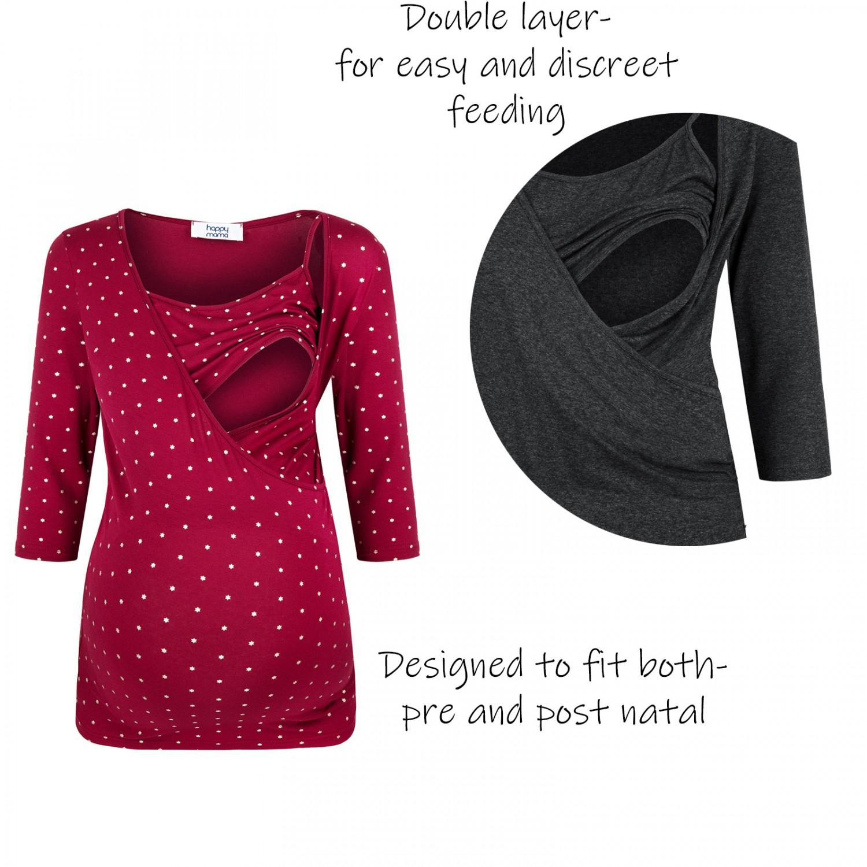 Zeta-Ville-Women-039-s-Maternity-Nursing-Double-Layer-Top-V-Neck-Shirt-160p thumbnail 4