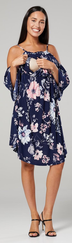 Women/'s Maternity Nursing Swing Dress Cold Shoulders 3//4 Sleeve.604p Zeta Ville