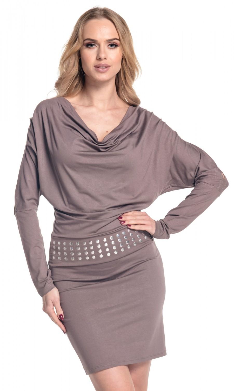 459ee5a0fbbc Glamour Empire. Women's Cowl Neck Jersey Dress Studs Belt Batwing ...