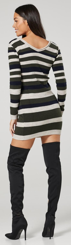Happy Mama Womens Maternity Stretch Knit Colour Block Jumper Dress Stripes 405p