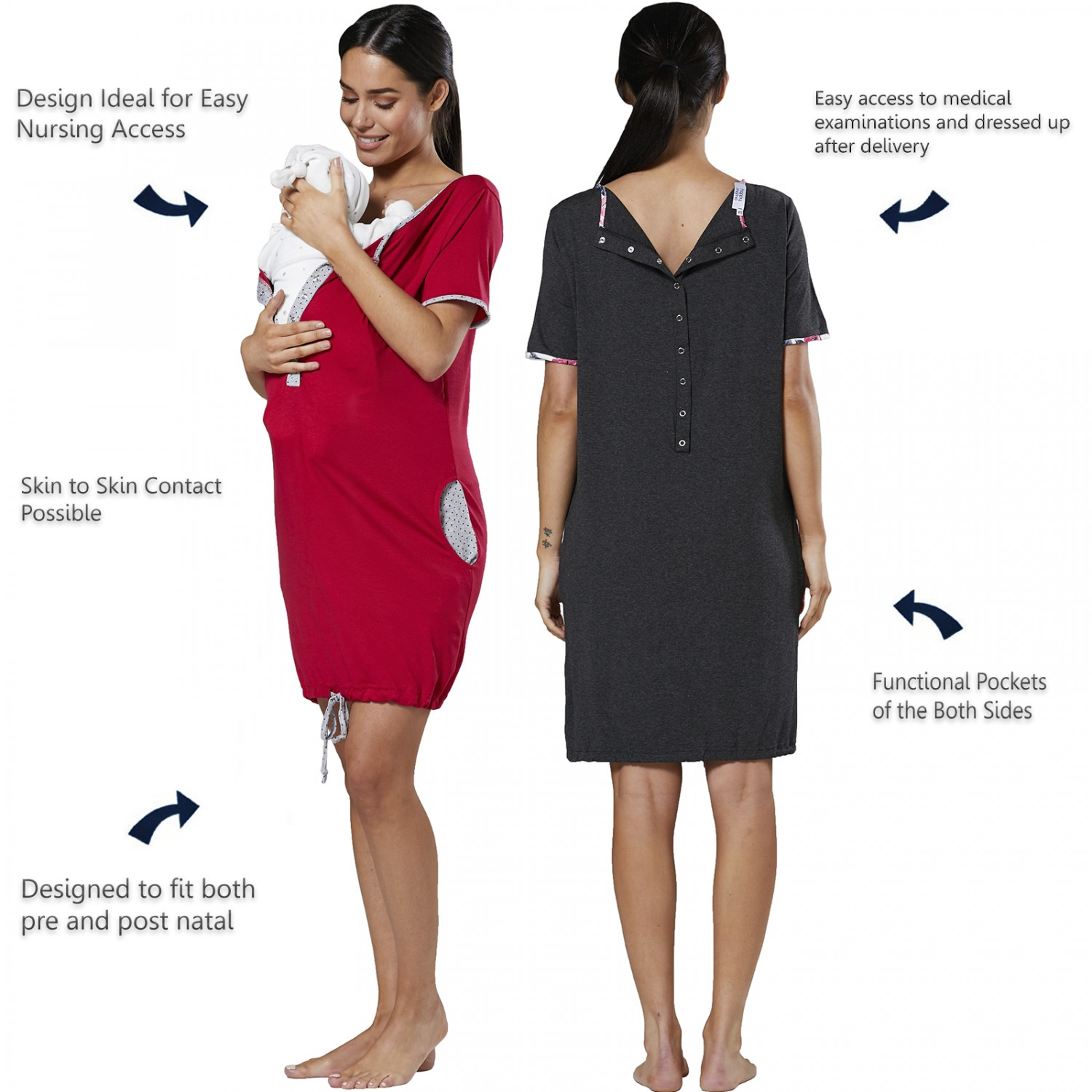 Happy-Mama-Women-039-s-Maternity-Nursing-Delivery-Hospital-Gown-Nightwear-209p thumbnail 3