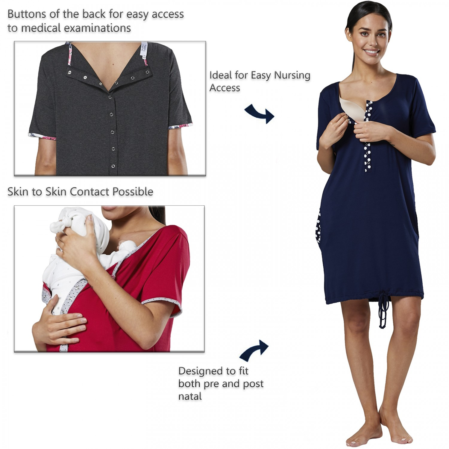 Happy-Mama-Women-039-s-Maternity-Nursing-Delivery-Hospital-Gown-Nightwear-209p thumbnail 10