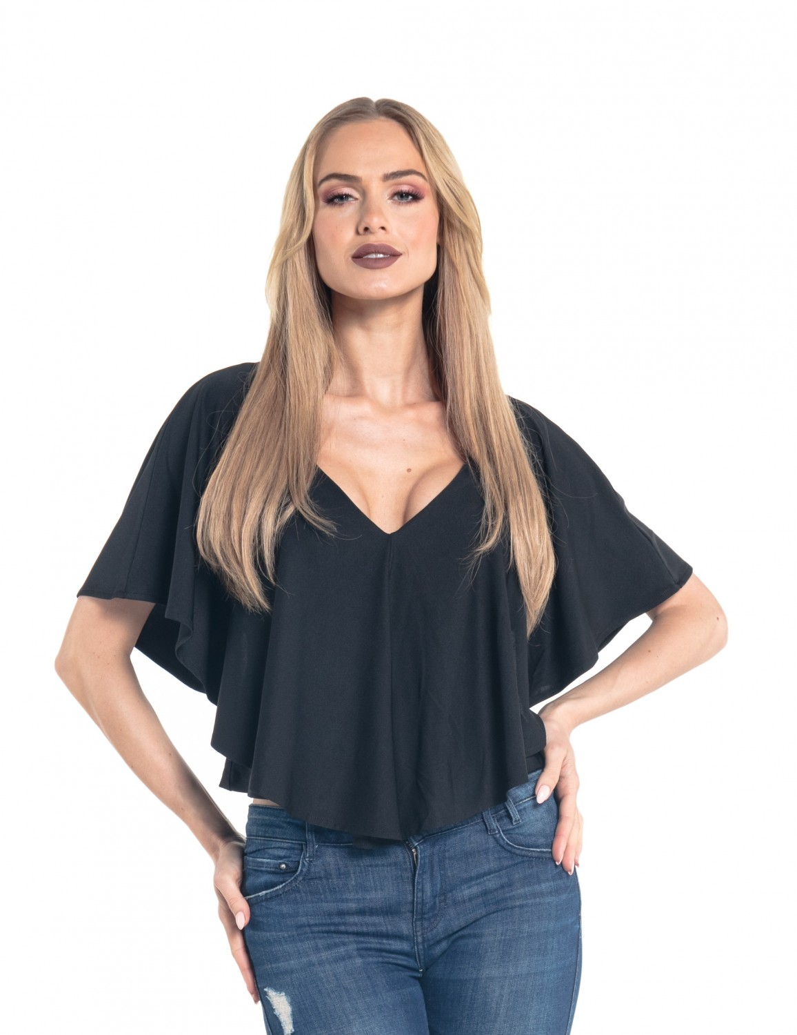 a6f91bcc0a95 Glamour Empire. Women s Silky Pleated Cape Top V-Neckline Batwing Sleeves.  578