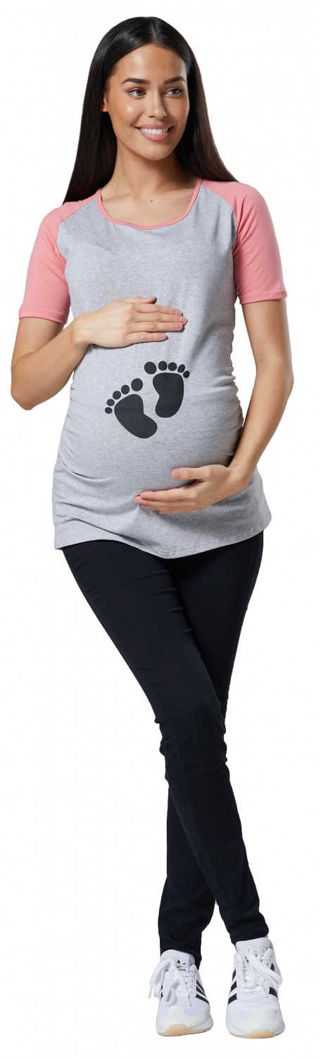 e32d1971f4d66 Happy Mama Women's Maternity Baby Feet Printed T-Shirt Footprints ...