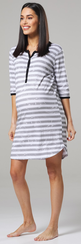 Womens Maternity Cotton Cartoon Print Nursing Nightdress 366c Grey Zeta Ville