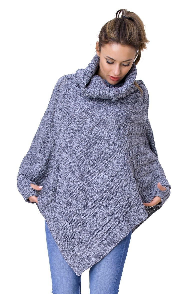 Glamour Empire Womens Warm Knit Poncho Sweater Batwing Cape Top