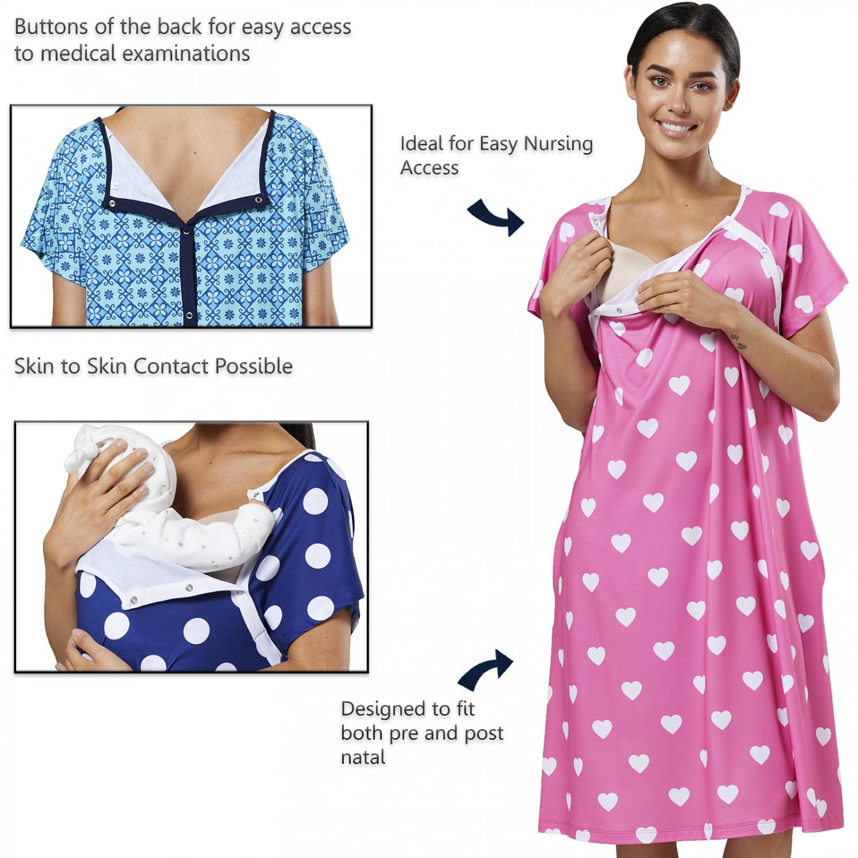 Zeta-Ville-Women-039-s-Maternity-Nursing-Delivery-Hospital-Gown-Nightshirt-536p thumbnail 10