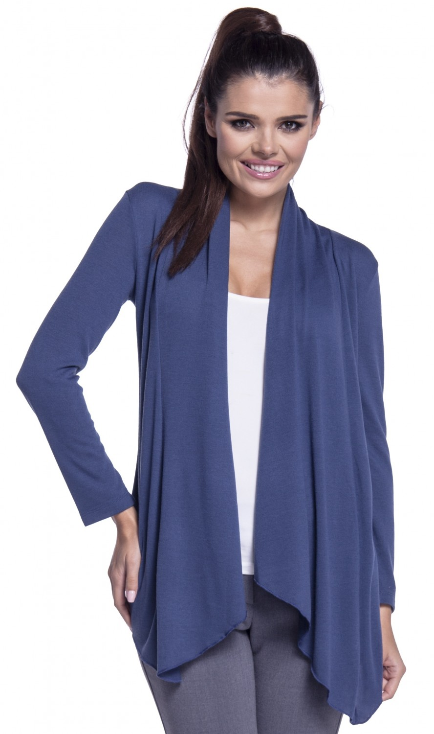Zeta Ville - Women's Waterfall Thin Knitted Jacket Cardigan Draped ...